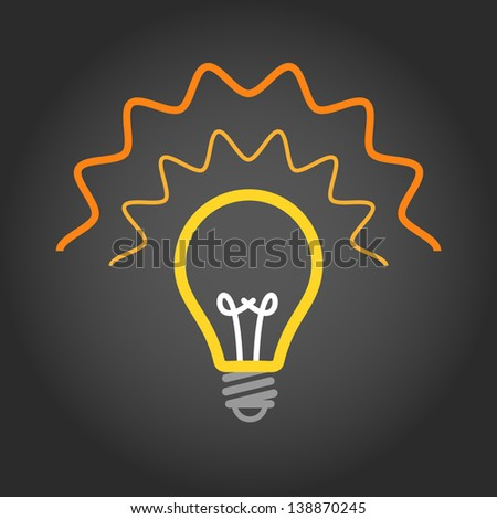 Lighting light bulb on dark background - stock vector