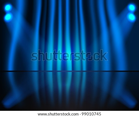 Lighting stage with blue curtain - stock vector