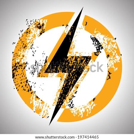Lighting thunder sign in circle, illustration - stock vector