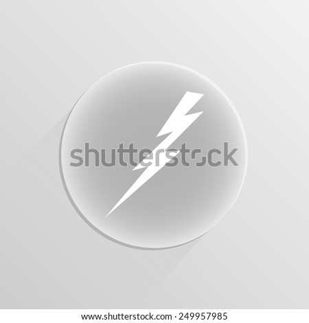 lightning and electricity icon on a white button with shadow  - stock vector