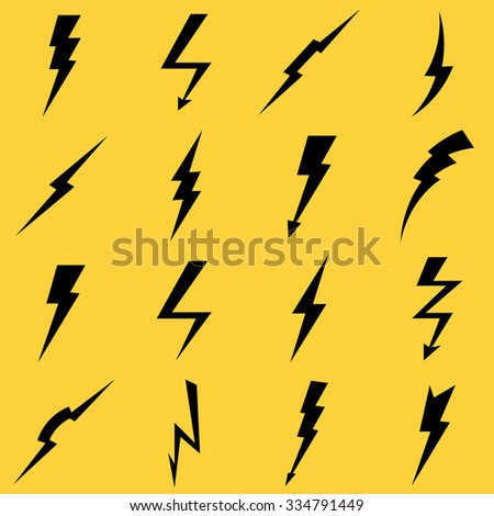 Lightning black vector icons set. Flash and arrow, electricity thunder, danger light power illustration - stock vector
