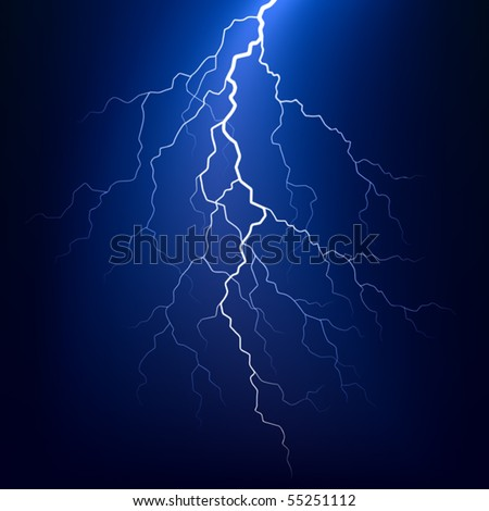 Lightning bolt at night. Vector. - stock vector