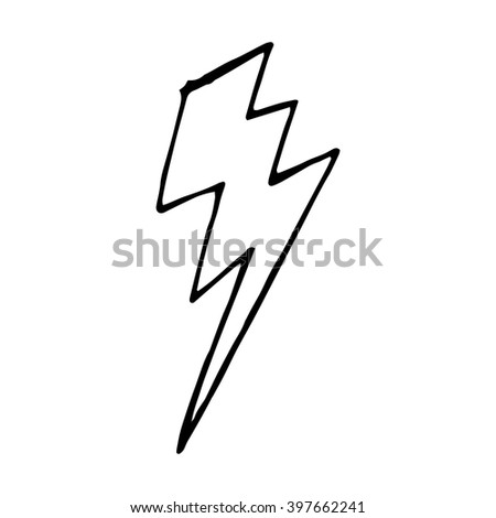 Lightning bolt doodle, vector hand drawn illustration isolated