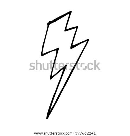 Lightning bolt doodle, vector hand drawn illustration isolated - stock vector