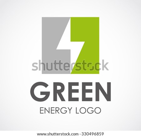 Lightning bolt of alternative green energy abstract vector and logo design or template electric technology business icon of company identity symbol concept - stock vector