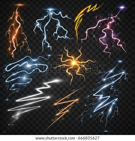 Lightning Bolt Storm Strike Realistic 3d Light Thunder Magic And Bright Lighting Effects Vector