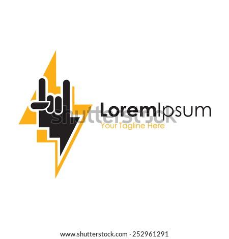 Lightning bolt symbol rock simple business icon logo - stock vector