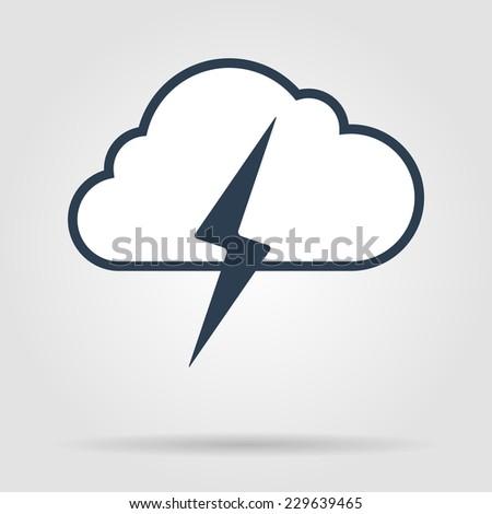 Lightning bolt weather flat line icon infographic illustration template for web or brochure. Vector illustration. - stock vector