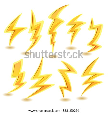 Lightning Bolts Set. Illustration of a set of funny cartoon lightning bolts icons, for thunderstorm and tempest in sky scenics, and game ui elements - stock vector