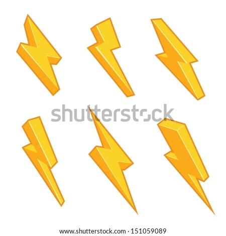 Lightning bolts with stroke isolated on white. 4 solid colors, no gradients. Vector graphics set. - stock vector
