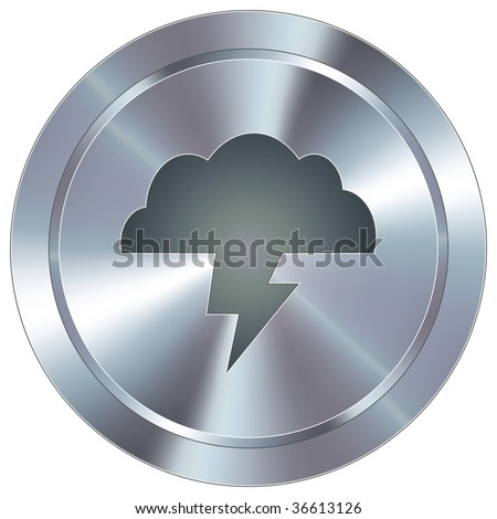 Lightning cloud weather icon on round stainless steel modern industrial button - stock vector