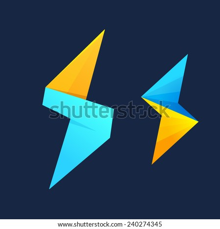 Lightning cube and S letter logo  - stock vector