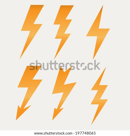 Lightning icon flat design long shadows vector illustration - stock vector