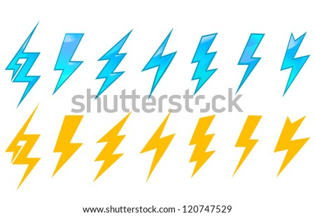 Lightning icons and symbols set isolated on white background. Jpeg version also available in gallery - stock vector