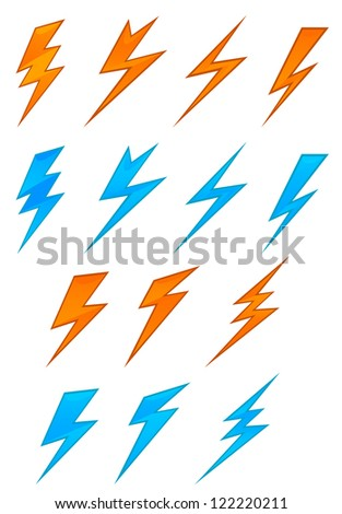 Lightning icons and symbols set on white background, such a template. Jpeg version also available in gallery - stock vector