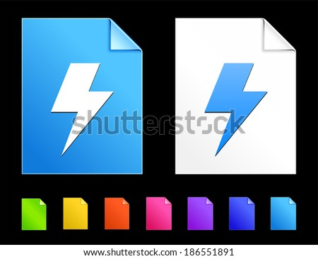 Lightning Icons on Colorful Paper Document Collection - stock vector