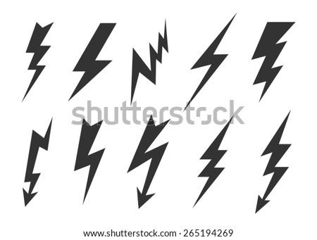 Lightning icons set. - stock vector