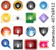 Lightning punch icon set isolated on a white background. - stock vector