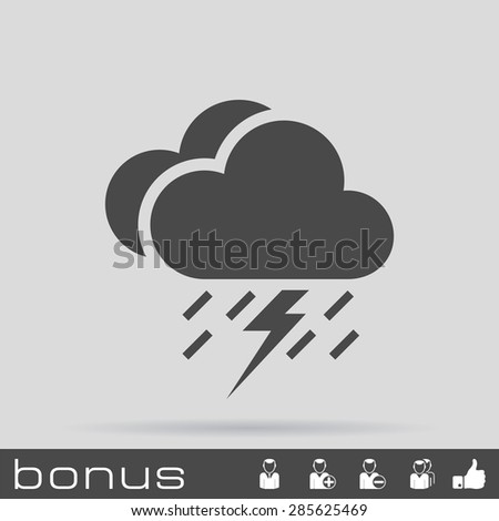 lightning rain cloud meteo icon - stock vector