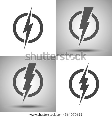 Lightning. Set of vector logos. Concept of energy and  electricity. Lightning bolt in the circle. Power and electric symbols collection. High speed, swiftness and rapid emblem. - stock vector