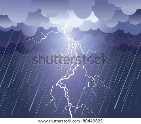 Lightning strike.Vector rain image with dark clouds - stock vector