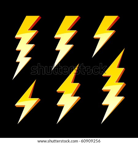 Lightning symbols. Vector. - stock vector