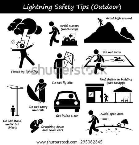 Lightning Thunder Outdoor Safety Tips Stick Figure Pictogram Icons - stock vector
