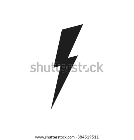 Lightning vector icon. Abstract thunderbolt symbol. Energy pictogram. Elecric isolated object. - stock vector