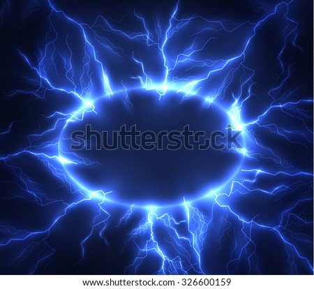 Lightning vector round text frame background. Eps10. - stock vector