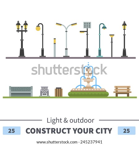 Lights and outdoor elements: bench, fountain, urn. Set of elements for construction of urban and village landscapes. Vector flat illustration - stock vector