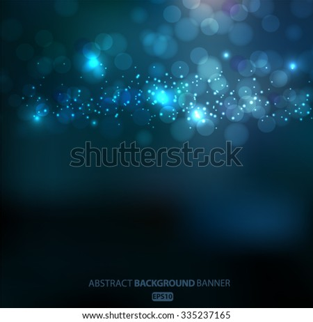 Lights on blue background bokeh effect.Vector EPS 10 illustration. - stock vector