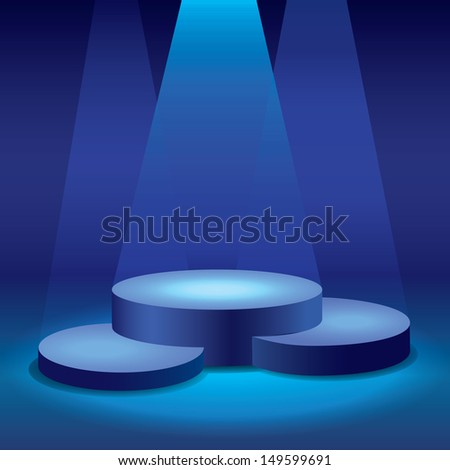 lights on podiums - stock vector