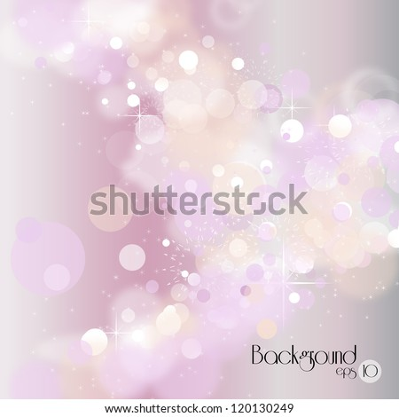 Lights on silver background - Vector illustration. Light silver abstract Christmas background with white snowflakes - stock vector