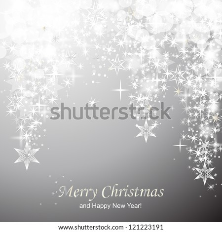 Lights on silver background - Vector illustration. Light silver abstract Christmas background with white stars - stock vector