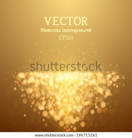 Lights on yellow background bokeh effect. Vector  - stock vector