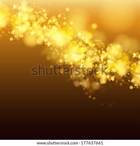 Lights on yellow background bokeh effect. Vector EPS 10 - stock vector