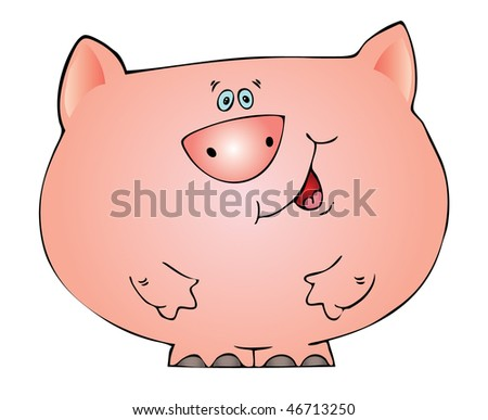 likable character is a pig, vector - stock vector
