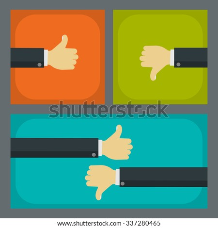 Like and dislike business concepts. Businessmen hands with thumbs up and thumbs down gestures.