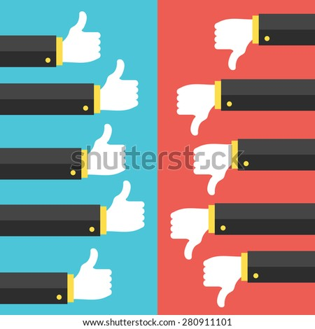 Like and dislike social network discussion concept. Thumbs up and thumbs down. Trendy flat vector illustration