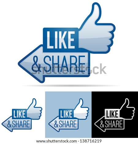 Like and Share Thumbs Up - stock vector