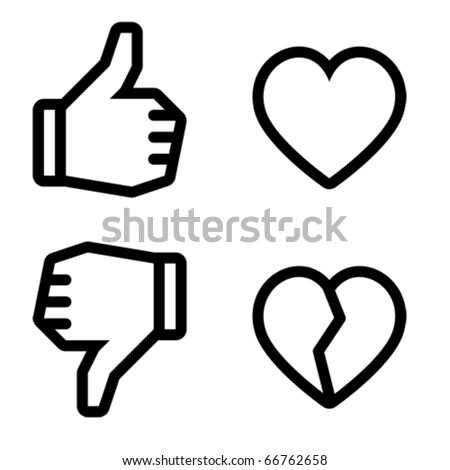 Like and unlike. Icons are aligned according to the pixel grid. It means that the images are prepared to use in small-sizes. It's specifically for the Web. - stock vector