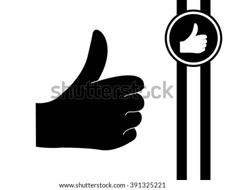 like - black and white vector icon