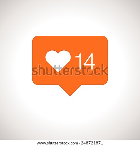 Like Counter Notification Icon - stock vector
