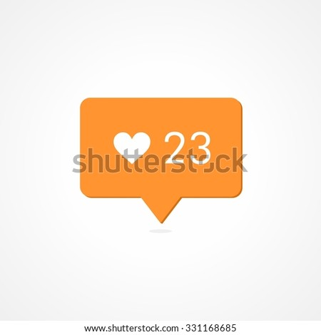 Like Counter Notification Orange Icon. Flat Desing Style. - stock vector