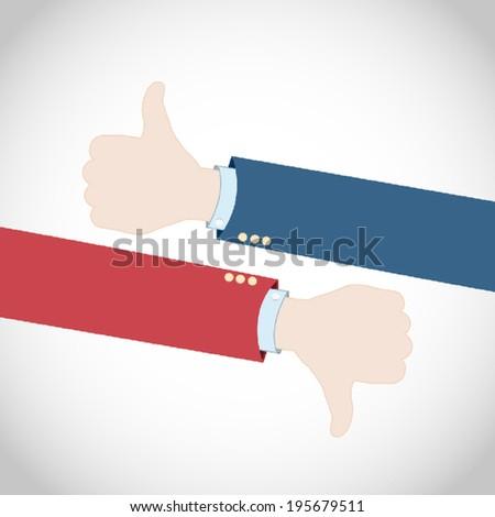 Like Dislike Election Hands - stock vector