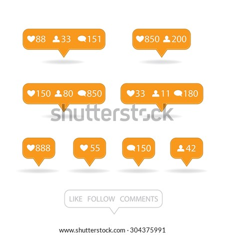 Like, follower, comment icons on white background (vector editable graphic) - stock vector
