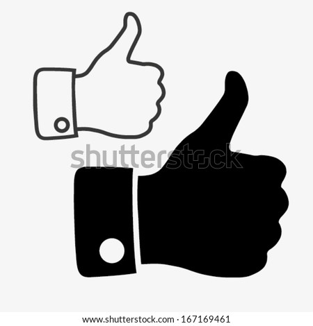 LIKE icon, hand icon - stock vector