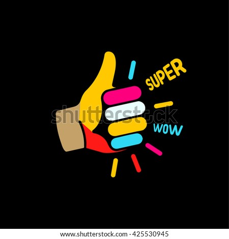 Like icon. Thumb up logo. Approved colorful symbol. - stock vector