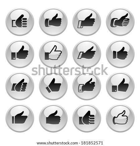 Like, set icons on round gray button. Vector illustration - stock vector