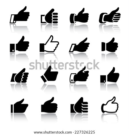 Like, set icons with reflection. Vector illustrations, set black silhouettes isolated on white background. - stock vector